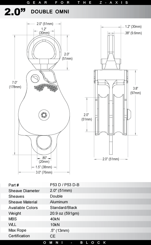 P D Specs on Rescue Z Pulley System